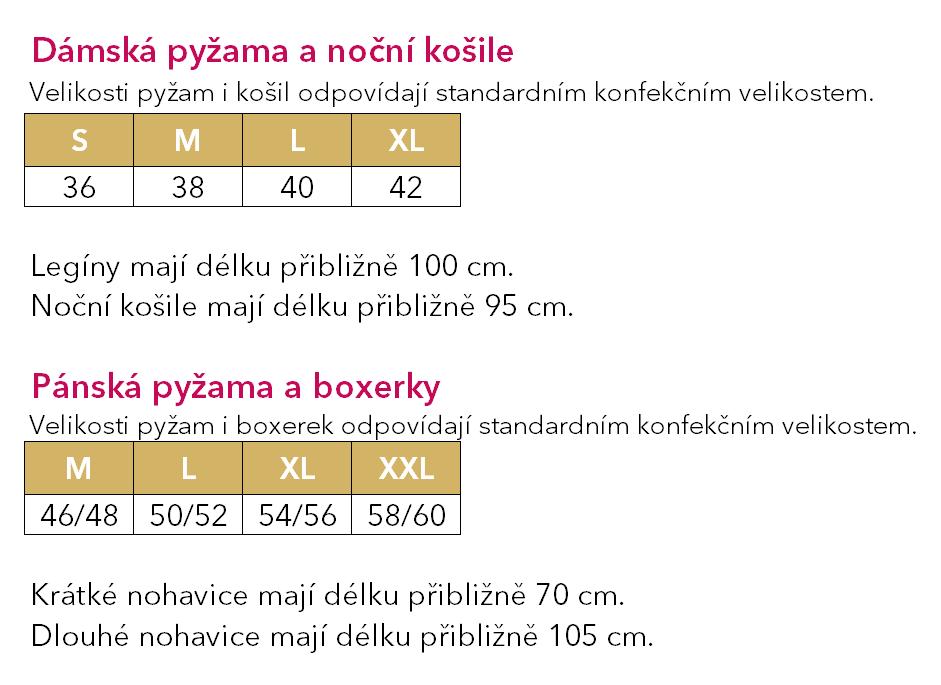 Velikostní tabulka · Noční košile Emma Náhled. Nová kolekce 8d21b37951